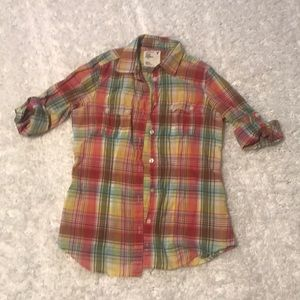 American Eagle XS button down plaid shirt